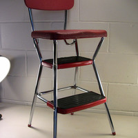 SOLD!  Vintage Cosco Metal Step Stool Red Chrome Retro Kitchen