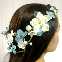 Blueberries and Cream Flower and Berry Crown, Blue and Ivory Flower Crown, Woodland Flower Crown, Flower Circlet, Boho Wedding, Boho Crown