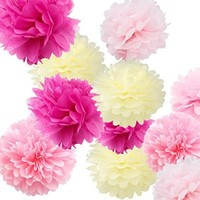 "Fonder Mols "" We Are Engaged "" Wedding Party Decoration 12pcs 8'' 10'' 14'' Hanging Craft Paper Tissue Pom Poms Flower Kit Birthday Party "" Its a Girl "" Baby Shower Table Decoration Nursery Decor - Cream, Pink, Light Pink & Fuschia"