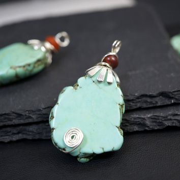 Rough Turquoise Pendant - Large Raw Turquoise Pendant - Turquoise Jewelry Long Chain Grenn Stone Healing Necklace