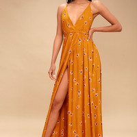 Santa Rosa Burnt Orange Floral Print Backless Maxi Dress