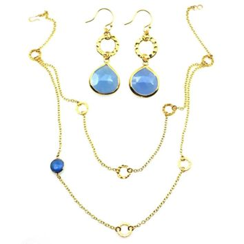 Blue Chalcedony Necklace and Earrings Set