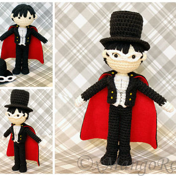 Tuxedo Mask Plush Amigurumi Doll (Crochet Pattern Only, Instant Digital Download) from Sailor Moon, Mamoru Chiba, Tuxedo Kamen