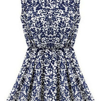 Blue and White Sleeveless Paisley Print Pleated Dress