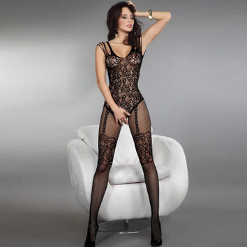 SIMPLE - Fashionable Sexy Mesh Pajamas Sleepwear Night Gown with Leggings b3757