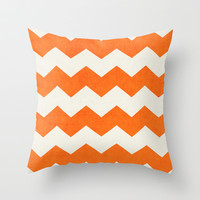 chevron-orange Throw Pillow by her art