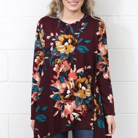 Handkerchief Floral Suedette Tunic Top {Burgundy Mix}