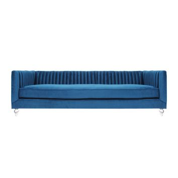 Trevon Velvet Acrylic Sofa, Loyal Blue
