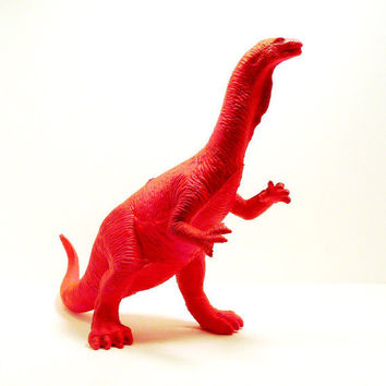 neon pink dinosaur toy  //  altered pop art  //  upcycled kitsch figurine  //  hot pink home decor  //  kids, nerdy, science