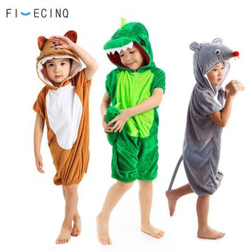 Children Rompers Pajama Short Sleeve Summer Suit Cartoon Animal Cosplay Costume Festival Party Onepiece Funny Jumpsuit Fantasias