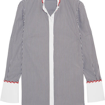 Alexander McQueen - Embroidered striped cotton shirt