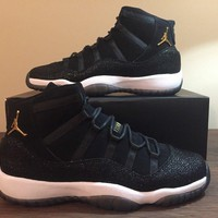 Nike Air Jordan 11 XI Retro Prm Heiress Stingray Black Gold White 852625-030 10Y