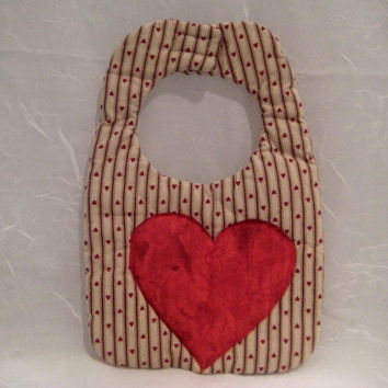 Handmade Bib Reversible Cotton Fabric, Red Heart and Stripes, Velcro Closing