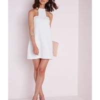 Missguided - High Neck Cut Away Shift Dress White