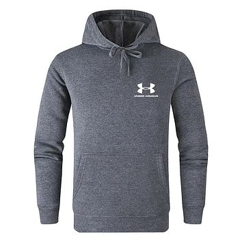 Under Armour Tide brand men's and women's versatile solid color hooded sweater dark grey