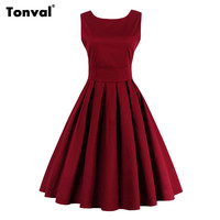 Tonval Wime Red Pleated Dress Christmas Sexy Evening Party Dress Vintage Retro Women 50s Backless Elegant Dress