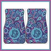 Car Mats Monogrammed Personalized Car Mats Custom Preppy Car Accessory Front Car Mats Accessories Sweet 16 Car Floor Mats Paisley Purple