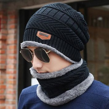 Knitted Winter Hat Scarf Neck Warmer Beanies