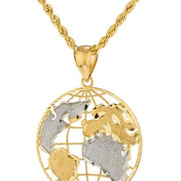 10k Yellow Gold Globe Pendant with a 10k 24 Inch Rope Necklace (Size 3)