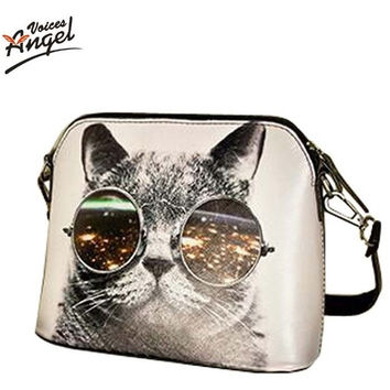 Hot Sale 2016 Cats Printing Women Handbag Shell Bag Women PU Leather Messenger Bag Women Small Bag WLHB1116