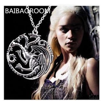 Valentine's Day Gift The Song Of Ice And Fire Game Of Thrones Daenerys Targaryen Dragon Badge 56cm Chain Necklace