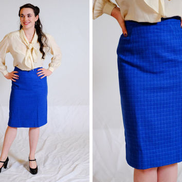 1950s Blue Pencil Skirt / XS / Small / Blue Plaid Wool Skirt