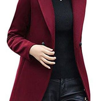 Cruiize Womens Long Sleeve Slim Lapel Thick Casual Outerwear Pea Coat