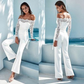 Summer Jumpsuits Women High Quality Lace Patchwork Sexy Party Jumpsuit Rompers Ladies Bodysuits T8
