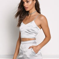 Silver Silky Cami Crop Top