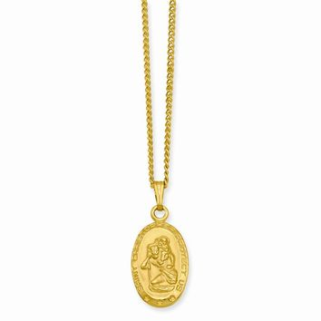 18in Gold-plated Small Oval St. Christopher Medal Necklace