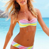 Rainbow Print Push Up Bikini