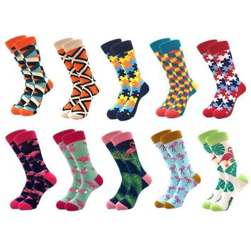 10pairs/lot Quality Men Happy Socks Combed Cotton colorful Funny Sock Casual long Mens compression socks