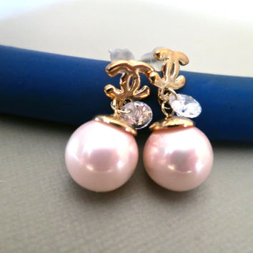 Pink Pearl Bridal Earrings Wedding Crystal Dangle Jewelry Prom Special Occasion Women Fashion Gold Valentine Gift