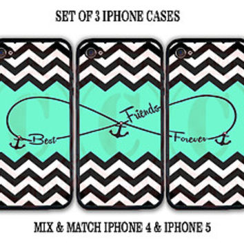 Mint Black White Chevron BFF Best Friends iPhone Case -3 iPhone 4 / 4s / 5 Cases