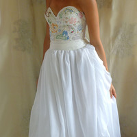Meadow Bustier Wedding Gown... Size S/M... dress boho whimsical woodland country vintage inspired embroidery free people eco friendly