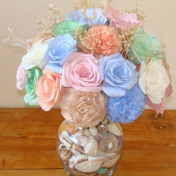 Beach decor, Seashell Decorations, Coffee filter flowers, Fake Flowers, Beach theme, Roses and Carnations, Beach themed wedding decor