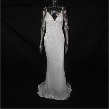 Sexy Silver Sequined Backless Padded Party Dress Mermaid Silver Sequins Sleeveless Evening Wedding Bodycon V Neck Club Vestidos