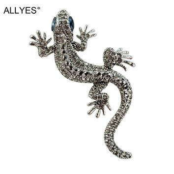 ALLYES  Lizard Brooches For Women & Men Retro Crystal Micro-mosaiced Vintage Large Animal Brooch Female Jewelry