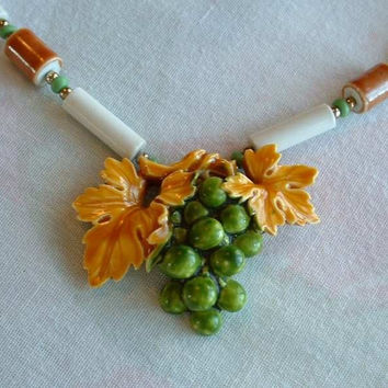 Grapes and Leaves Pendant Necklace Fall Green Yellow Vintage Floral Jewelry