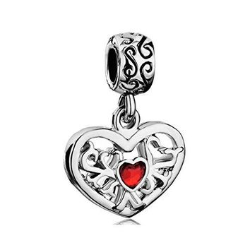 CharmsStory Heart Love Tree Of Life Red Simulated Birthstone Synthetic Crystal Charm Beads Charms For Bracelets