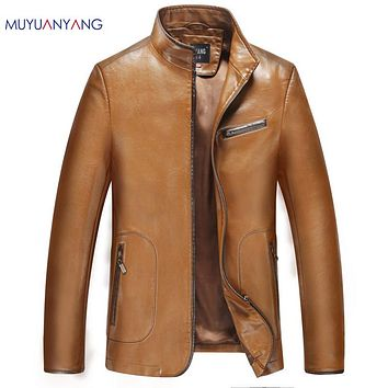 New Warm Leather Coats Men Leather Jackets and Coat Stand Casual Male Leather Motorcycle Clothing
