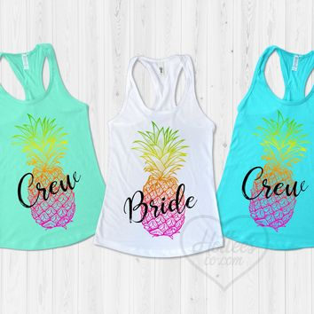 Pineapple Bride and Crew Bachelorette Party Shirts