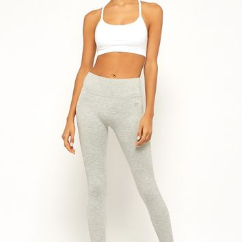 Active Marled Ribbed-Trim Leggings