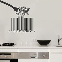 Wall Decal Vinyl Sticker Bar Code Fork Quote Lettering Saying Kitchen B486