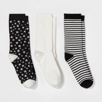 Women's 3pk Crew Socks - A New Day™ White One Size
