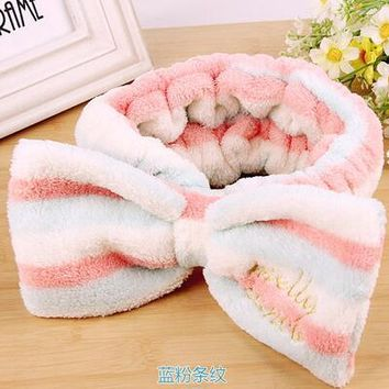 Mask Cosmetic Sports Towel Hair Bands Big Bow Covering Towel Microfiber Towel