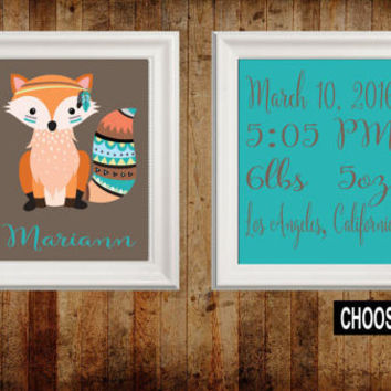 TRIBAL Nursery Wall Art, FOX Birth Announcement, Birth Stats, Canvas or Prints Woodland Wall Art, Wood Forest Animals