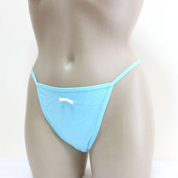 Blue Cotton Cute Sexy G-String Handmade lingerie panties, Cotton panties g-string thong panty lingerie underwear