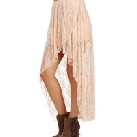 Blush Lace Hi Lo Skirt