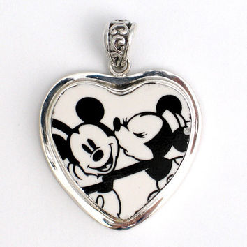 Broken China Jewelry  Minnie Kissing Mickey Mouse by vbellejewelry